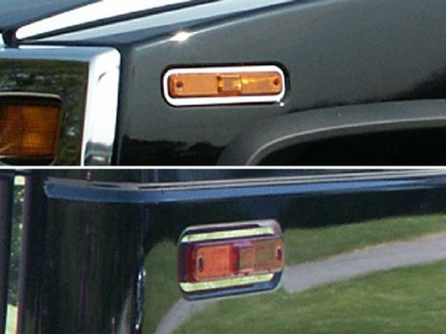 QAA FITS H2 2003-2007 HUMMER (4 Pc: Stainless Steel Marker Light Accent Trim Rings, SUV) HV43024