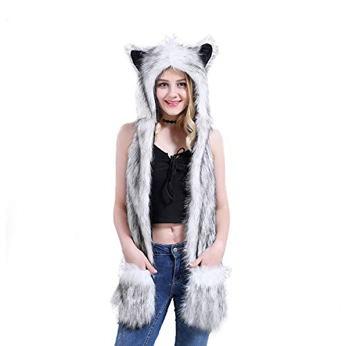 Animal Hood Hat Cap Scarf Gloves Mittens Faux Fur Fleece Lined Interior Anime Spirit Paws Ears Zipper Furry Hoodie (Husky) - Gloves Animal