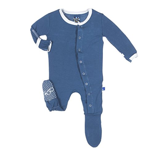 Kickee Pants Little Boys Solid Footie Pajama Twilight with Natural Trim, 18- 24 Months