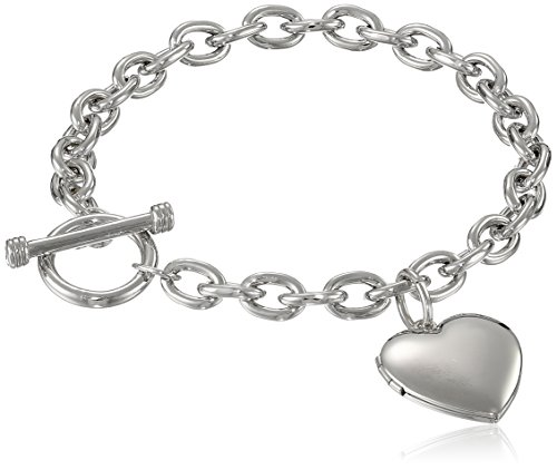 Sterling Silver Toggle Bracelet with Heart Locket, 8