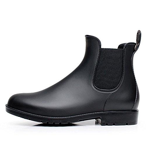 17KM Women's Black Ankle Rain Shoes Anti Slip Short Rain Boots Slip On Waterproof Chelsea Boots Black