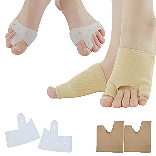 Sumifun Gel Half-Toe Metatarsal Pads Kit- Half Toe Sleeve Pads & Toe Separators & Bunion Corrector for Straighteners splint Aid surgery treatment, Prevent Pain, Calluses and Blisters (Style 1) by Sumifun