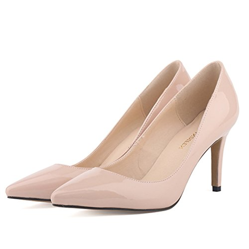 Chaussures Mouth Verni Hauts Toe Pumps Femmes Talons Marron Pointu Cuir à en Shallow Xianshu Stiletto IPaRqw4P