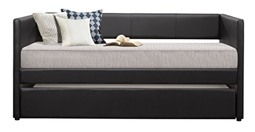 Homelegance Adra Fully Upholstered Daybed with Roll Out Trundle Bi-cast Vinyl Twin, Black (Twin Trundle)