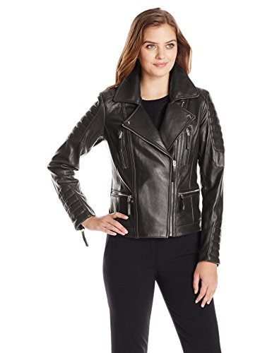 Vince Camuto Women's Leather Moto Jacket with Gold Hardwa...