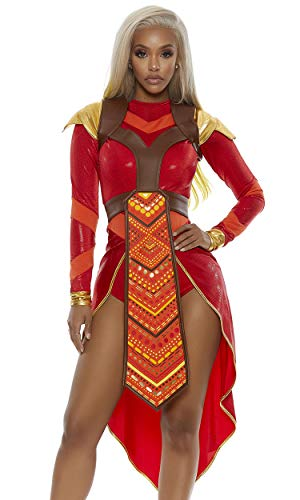 Forplay Women's Wakanda Forever Epic Warrior Costume, red, M/L