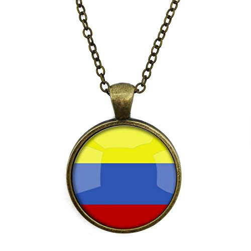 Silver Necklace Retro The Republic Of Colombia National Flag Special Design Glass Cabochon Dome Jewelry By Jeancz