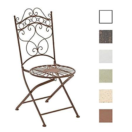 CLP Sedia da Giardino INDRA | Sedia in Ferro Lavorato a Mano | Sedia per Esterno in Stile Rustico e Shabby | Sedia da balcone, Resistente ad Agenti Atmosferici | Sedia Outdoor con Schienale bianco antico
