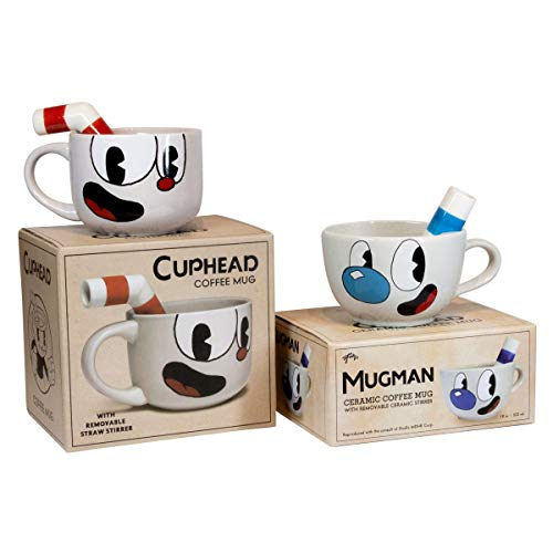 Cuphead & Mugman Official Ceramic Mug Set | Classic Style Ceramic Mugs With Removable Stirring Straw | Mugs Hold 20 Ounces Each
