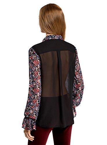 oodji Ultra Mujer Blusa de Tejido Combinado con Puños a la Moda Negro (294AF)