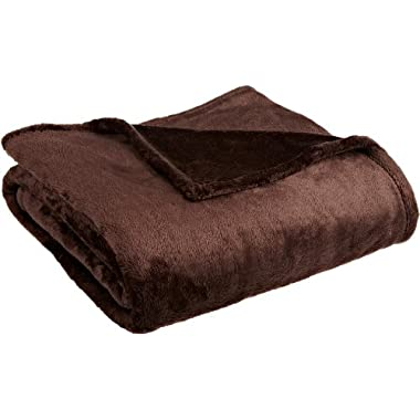 Northpoint Cashmere Plush Velvet Throw, Chocolate