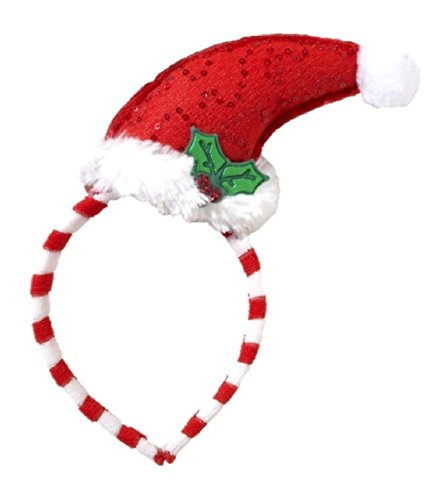 Mini Curved Santa Hat with Mistletoe on Headband Elf Costume Accessory (Adult Or Child Gobbler Turkey Hat)