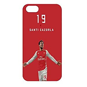 3D Case Hard Plastic Cover Red Case Hard Protective Skin Santi Cazorla no.19 Player With Fashion Design For Iphone 4/4s