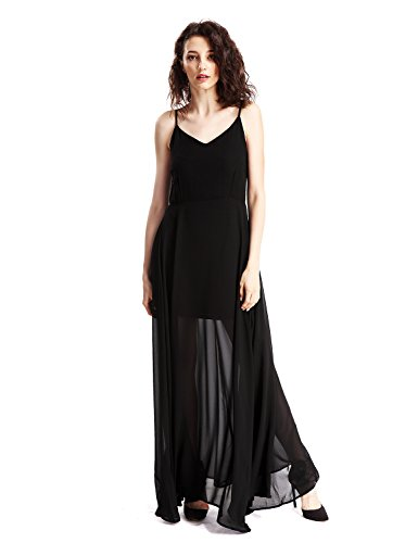 Avoir Aime Women's Black Minimalist Sheer Chiffon Floor Length Maxi Dress,Medium,Black Tailored Sheer