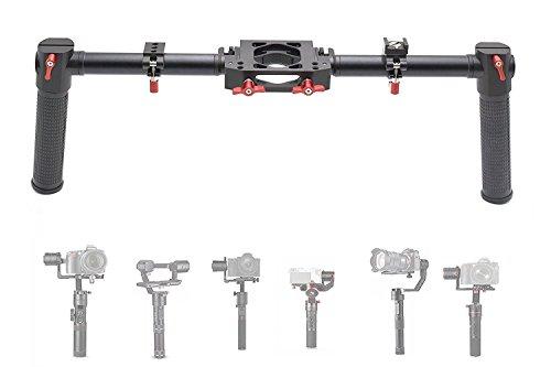 AFVO Foldable Dual Handle Grip for Zhiyun Crane 2/Crane V2/Crane Plus/Crane/Crane M/Feiyu A1000/A2000/Gusen MOZA Air Aircross (with 2 Accessories Clamp) by AFVO