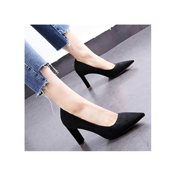 Hoesczs 2019 Spring New Pointed Thick With High Heels Shallow Mouth Wild Single Shoes Pink Women's