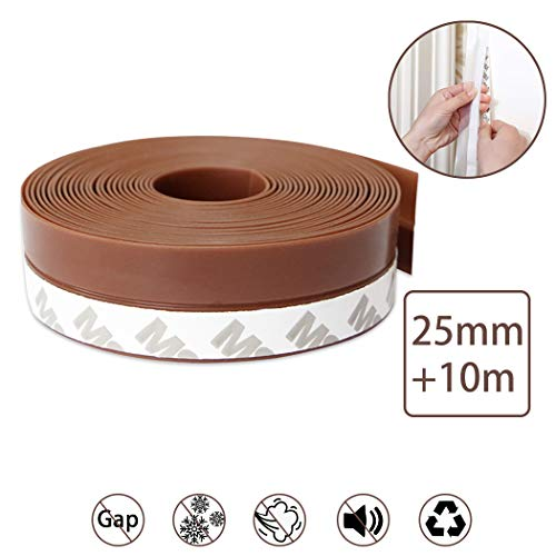 Window Seal Strip,Outgeek Rubber Seal Foam Tape Foam Seal Strip 1 Roll 32.8ft Simple Door Weatherstrip Weather Stripping (0.98inch) (Brown 25mm Window Seal Strip)