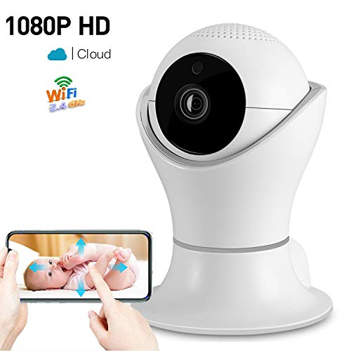 - 1080P Wireless Home Security IP Camera 360° Wifi Indoor Video Surveillance System Network Baby Monitor for Puppy Nanny Cloud Cam Night Vision Motion Detector Pan Tilt with 2 Way Audio APP Dome Webcam