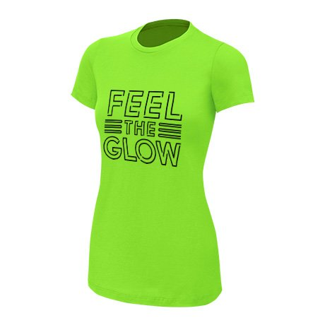 WWE Naomi Feel The Glow Neon Women's Authentic T-Shirt Lime Green Medium by WWE Authentic Wear