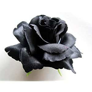 "(4) BIG Black Silk Roses Flower Head - 3.75"" - Artificial Flowers Heads Fabric Floral Supplies Wholesale Lot for Wedding Flowers Accessories Make Bridal Hair Clips Headbands Dress 115"