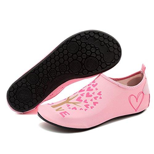 Cior Hommes Et Femmes Pieds Nus Peau Aqua Chaussures Anti-dérapant Multifonctionnel Chaussures De Leau Pour Plage Piscine Surf Yoga Exercice Pink001