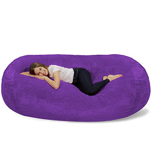 Chill Sack Bean Bag Chair: Huge 7.5' Memory Foam Furniture Bag and Large Lounger - Big Sofa with Soft Micro Fiber Cover - Purple Furry (Convertible Bean Bag Bed)
