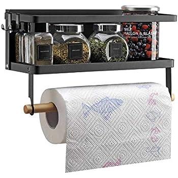VIAV Magnetic Paper Towel Holder Refrigerator Shelf Spice Rack Storage for Kitchen, Black