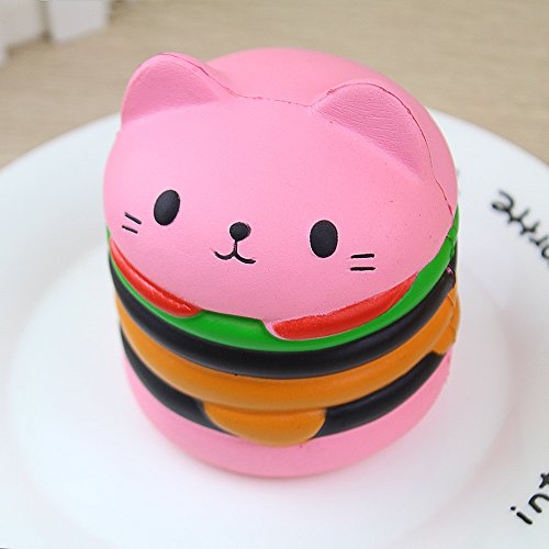Fidget Toy Slow Rising Squishies Cartoon Cat Hamburger Hand Toy Novrlty Toys,Faber3 Healing Toys Cute Mini Squishy Squeeze Collection Stress Reliever Hamburger Toys Christmas Gift for Kids (Pink) (Hottest Cartoon Girl)