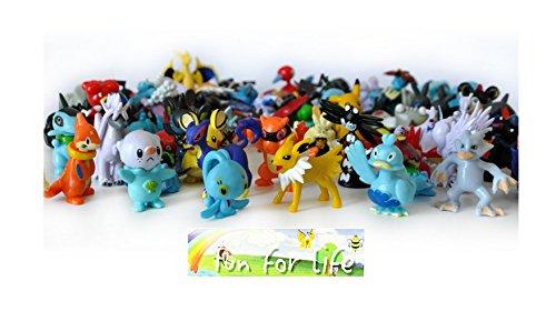 Pokemon Go 48 Pokemon Mini Figures With a Randomly Pokemon Sticker In a Set, Amazing Gift for Kids, Holiday Gift