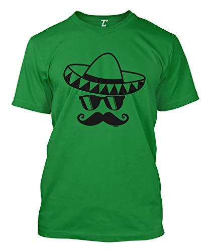 (Cinco De Mayo Mustache Face - Sombrero Men's T-Shirt (Kelly, Small))