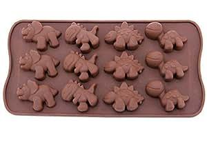 yingwei dulces Formas, formas de chocolate, silicona Formas, Jabones de formas, de silicona Moldes con 4estilo dinosaurio