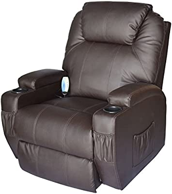 Amazing Homcom Massage Heated Pu Leather 360 Degree Swivel Recliner Chair With Remote Brown Pabps2019 Chair Design Images Pabps2019Com