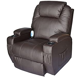 Single brown recliner with armrests
