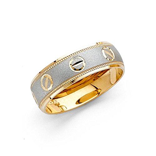 Milgrain Band Solid 14k Yellow White Gold Ring Designer Inspired Mens Womens Diamond Cut Two Tone 6 mm Size 7
