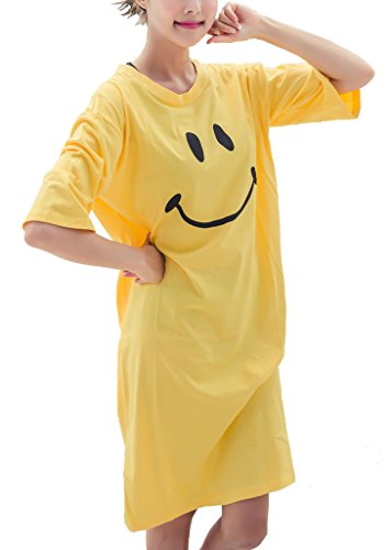 Elegeet Smiley Face Womens T-Shirt Swimsuit Cover Up Home Dress-Yellow, Yellow ,One Size