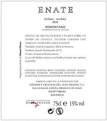 ENATE Syrah -Shiraz- Añada 2016, Vino Tinto-D.O. Somontano -75cl- Vino Tinto Muy Cubierto - Paladar Voluptuoso - Taninos Nobles y Aterciopelados - Fermentado en Barrica de Roble Europeo y Americano