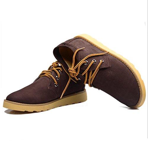 Heart&M cuero ocasionales de los hombres ronda toe zapatos de cuero de alta corte gamuza chocolate color