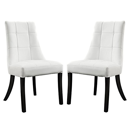 Modway Noblesse Vinyl Dining Side Chairs in White – Set of 2 For Sale