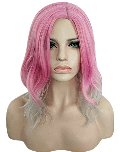 AneShe 14 Inches Women Girls Short Pink Ombre Wavy Wig Synthetic Hair Wig With Parted Bangs (Pink/Grey)