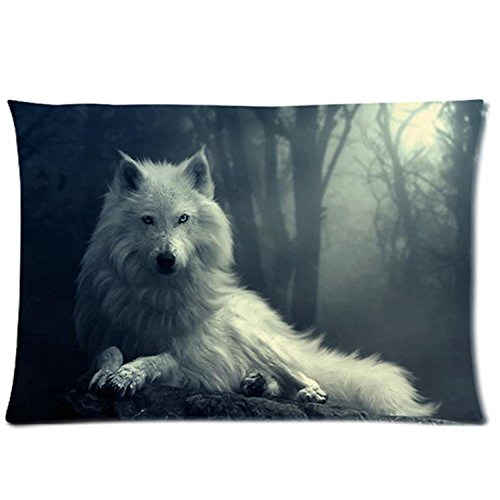 GeriMimi Custom zipper Brave Wolf Pillowcase Covers (twin side)