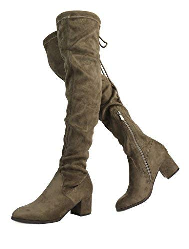 3072262e30e DREAM PAIRS Women s New Portz Khaki Over The Knee Thigh High Chunky Heel  Boots Size 5