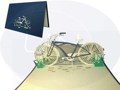 Lin pop up 3D Greeting Card Bicycle Blue ()