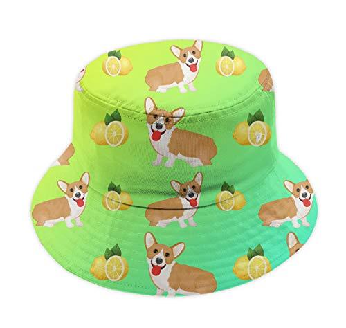 Men Women Fashion Cool Packable Summer Cap UV Sun Protective Fisherman Hat Welsh Corgi Dog Puppy and Lemon Bucket Cap for Golf Travel Beach Fishing Hiking Outdoor