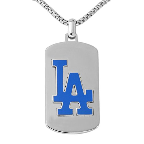 La Dodgers Pendant (MLB Los Angeles Dodgers Necklace, Blue/Silver, One Size)