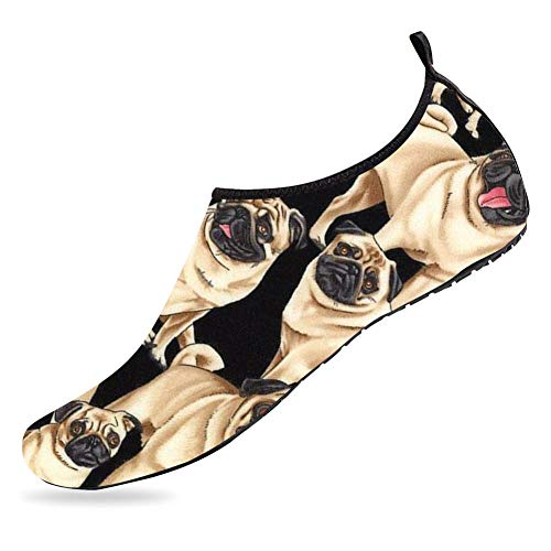 (Womens and Mens Water Shoes Barefoot Quick-Dry Aqua Socks for Beach Swim Surf Yoga Exercise Pug Life-33-34)
