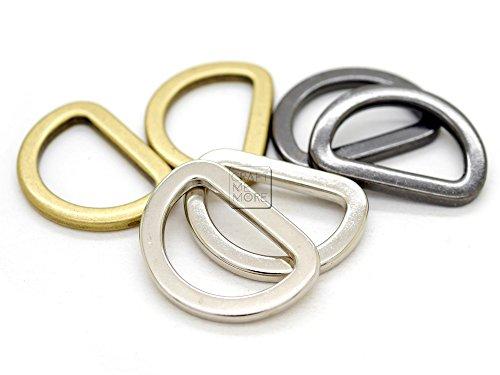 CRAFTMEmore D Rings Purse Loop Flat Metal D-ring Heavy Duty Findings for Bag Belt Strap Webbing 10 pcs 5/8, 3/4, 1 Inch (1 Inch, Antique Brass) (Wrangler Concho Belt)