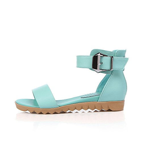 AllhqFashion Women's Zipper Open Toe Low-heels PU Solid Sandals Blue eGsJWcPVdC