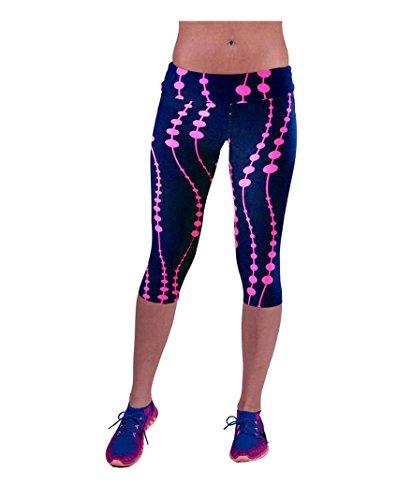 Women Fashion High Waist Fitness Yoga Sport Pant Print Stretch Cropped Leggings (Hot Pink, L)