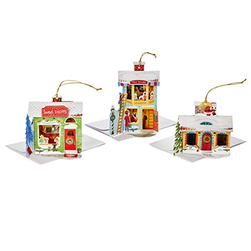 Hallmark Paper Wonder Christmas Boxed Cards Assortment, Pop Up Shops Ornaments (6 Cards with Envelopes)