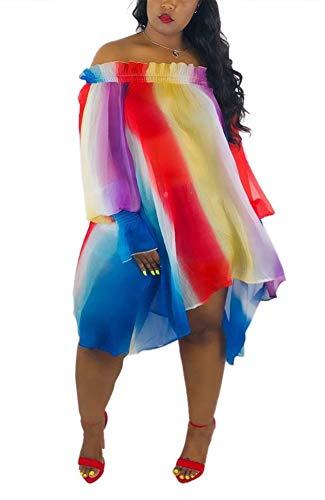 T-shirt Rainbow Straight - Women Plus Size Off Shoulder Rainbow Dress Casual Long T-Shirt Dress